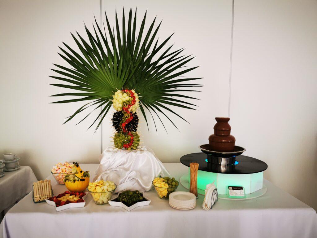 fontanna czekoladowa, palma owocowa, dekoracje owocowe, owoce na 18stkę, owoce i czekolada na 18, atrakcje na 18 Turek, koszyk z melona