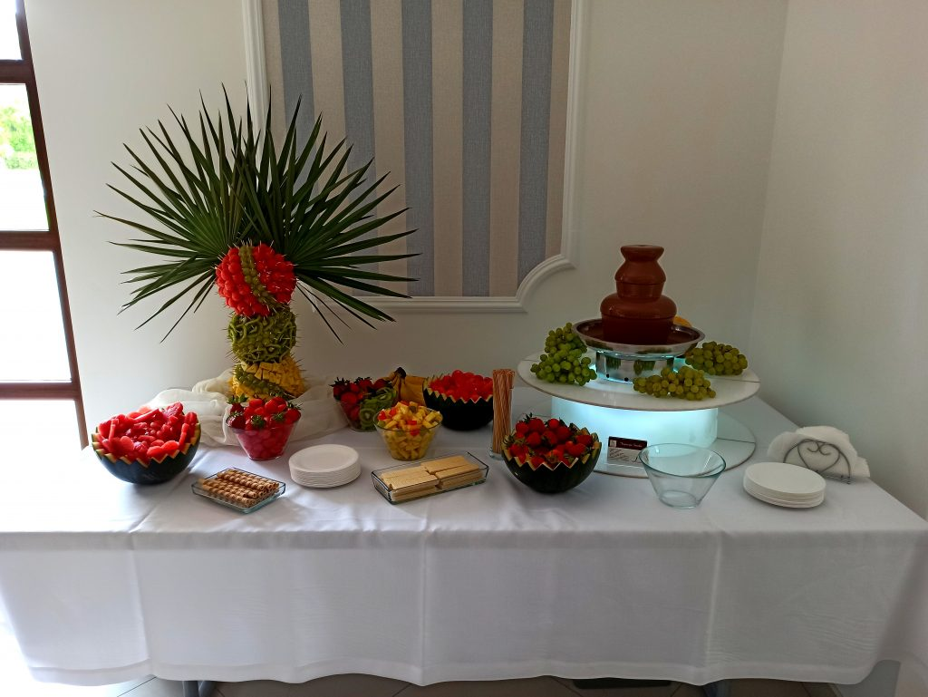fontanna czekoladowa, palma owocowa, fontanna czekoladowa na komunię, fontanna czekoladowa na 18, atrakcje na wesele Rafallo Bończa