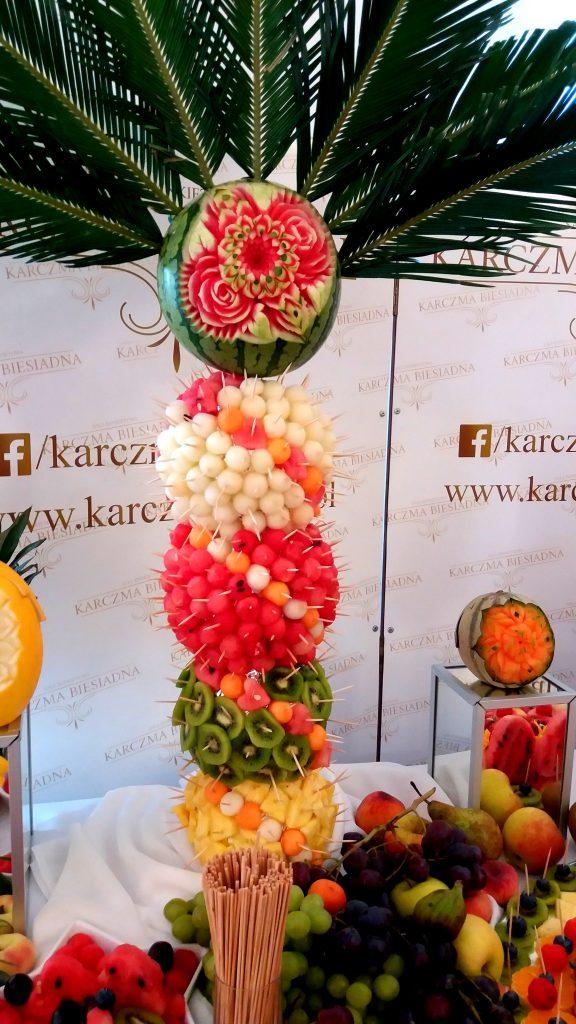 fruit bar, fruit carving, bar owocowy, rzeźbione arbuzy, palma owocowa, Turek, Konin, Kalisz, Łódź, Płock, Słupca, Poznań, stół owocowy,
